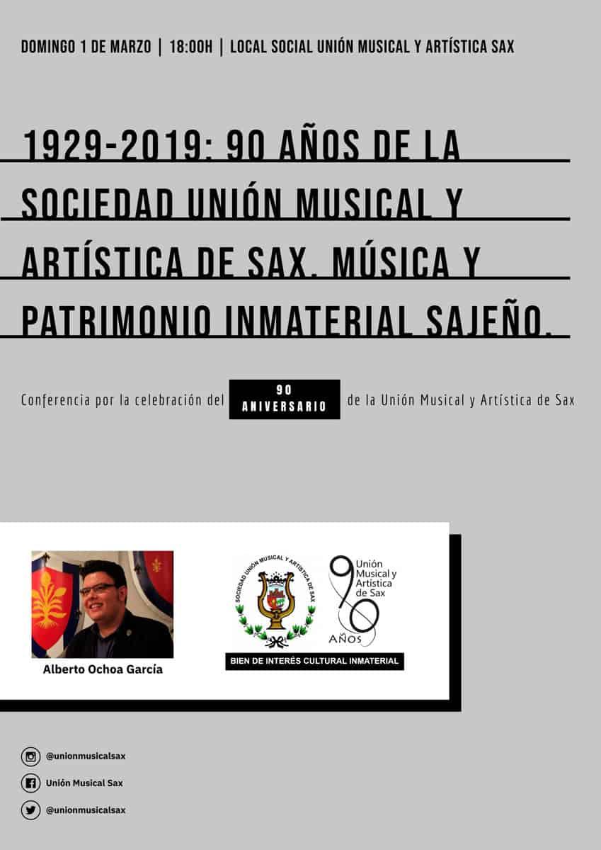 La Unión Musical de Sax revive su historia en una conferencia